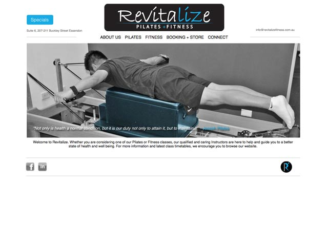 Revitalize-Pilates-and-Fitness-website